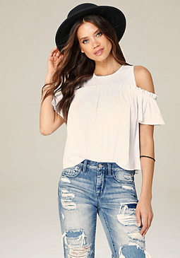 bebe Cold Shoulder Babydoll Top