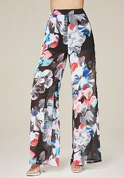 bebe Sheer Wide Leg Pants