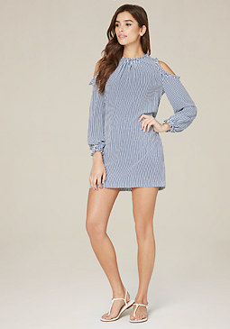 bebe Striped Cold Shoulder Dress