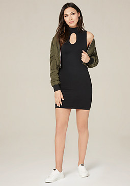 bebe Keyhole Sleeveless Dress
