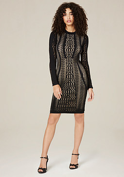 bebe Kimmie Mesh Bodycon Dress