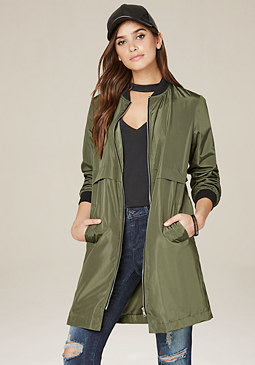 bebe Olive Long Bomber Jacket