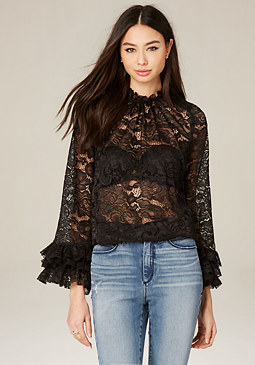 bebe Lace Ruffle Sleeve Top