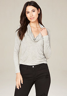 Heather Grey Cowl Neck Top