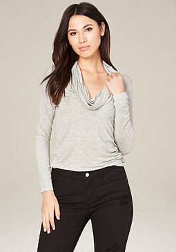 bebe Heather Grey Cowl Neck Top