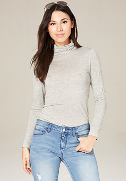 bebe Heather Grey Turtleneck Top