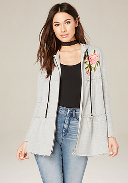 bebe Flower Trim Tiered Coat