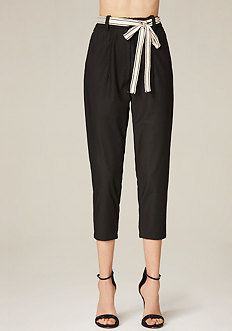 Tie Belt Crop Pants