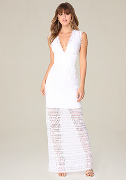 bebe Striped Lace Maxi Dress
