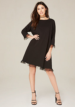 bebe Heart Mesh Trim Dress