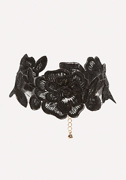 bebe Black Flower Choker
