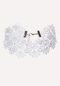 bebe Scroll & Frond Lace Choker