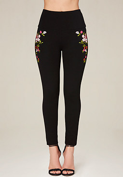 bebe Petite Embroidered Leggings
