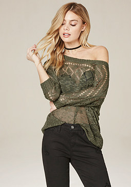 bebe Slub Knit Dolman Sweater