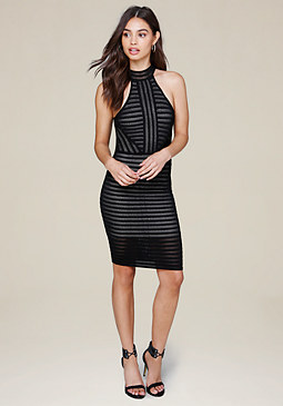 bebe Striped Knit Halter Dress