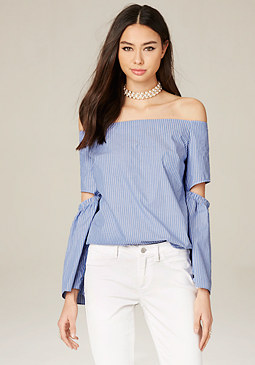 bebe Striped Split Sleeve Top