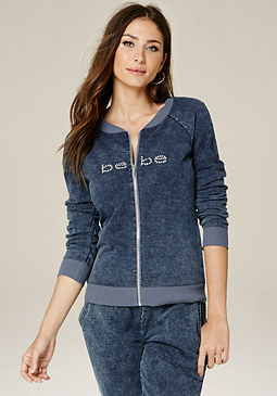 bebe Denim Knit Zip Jacket