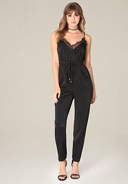 bebe Lace Trim Jumpsuit