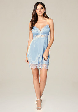bebe Pia Lace Trim Slip Dress