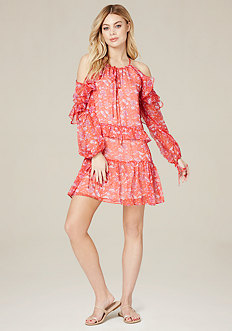 Print Ruffle Shoulder Dress