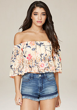 bebe Embroidered Lace Crop Top