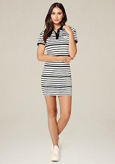 Logo Striped Tennis Dress