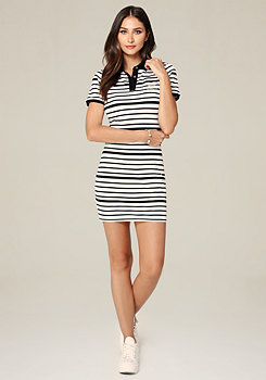 bebe Logo Striped Tennis Dress