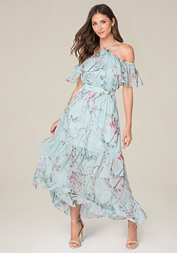 bebe Crinkle Chiffon Maxi Dress