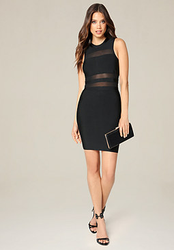 bebe Shadow Stripe Mini Dress