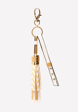 bebe Metallic Tassel Bag Charm