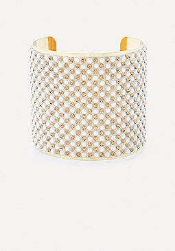 bebe Crystal & Pearlescent Cuff