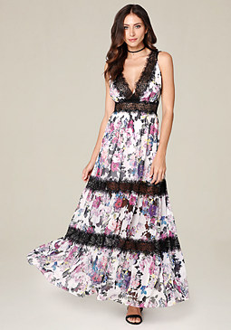 bebe Petite Tiered Maxi Dress