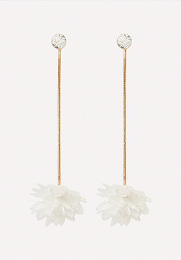 bebe Fabric Flower Drop Earrings