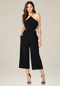 bebe Side Cutout Crop Jumpsuit