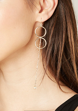 bebe Double Circle Drop Earrings