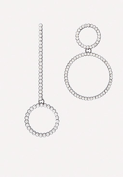 bebe Crystal Asymmetric Earrings