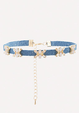 bebe Tiny Flower & Denim Choker