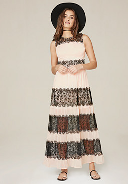 bebe Petite Lace Trim Maxi Dress