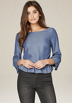 bebe Ruffled Back Button Top