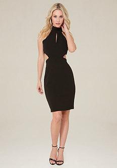 Cutout Halter Look Dress