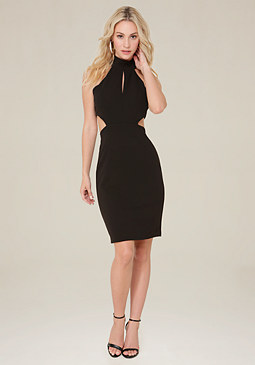 bebe Cutout Halter Look Dress