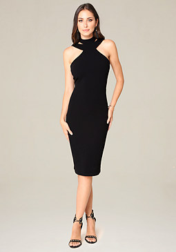 bebe Halter Bodycon Dress