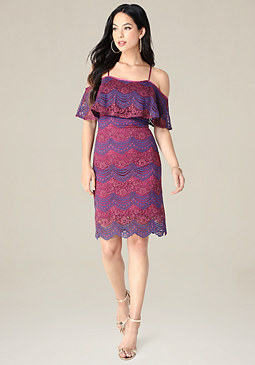 bebe Striped Lace Dress