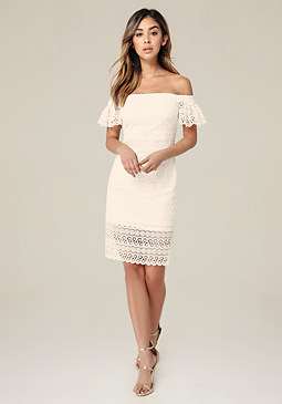 bebe Lace Off Shoulder Dress