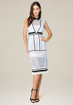 bebe Collared A-Line Midi Dress