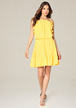 bebe Blouson Halter Look Dress