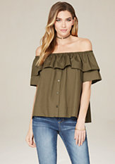 bebe Ruffled Short Shirt