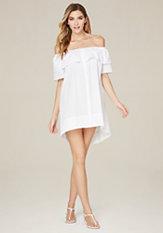 Ruffled Long Shirtdress at bebe