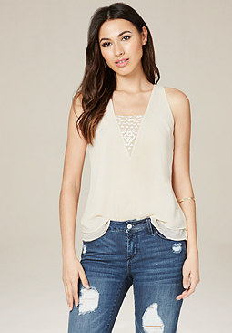 bebe Embroidered V-Neck Top