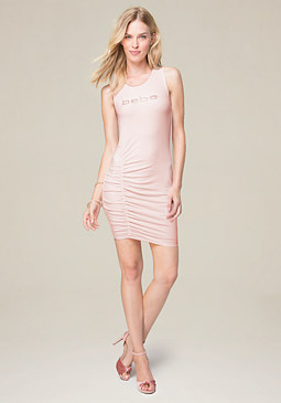 bebe Logo Mila Ruched Dress